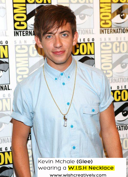 Kevin Mchale (Glee) was spotted at Comic Con wearing a W.I.S.H Necklace!  Keep a special message close to your heart! Get your W.I.S.H Necklace on www.wishcreatively.com  xoxo Siham X Iman