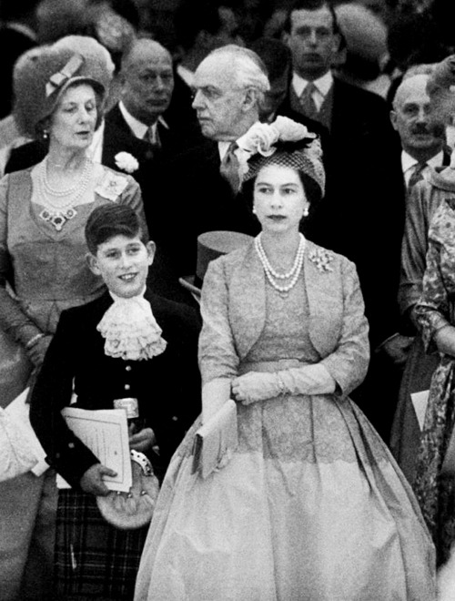 Queen Elizabeth II and son Prince Charles, 1950s.