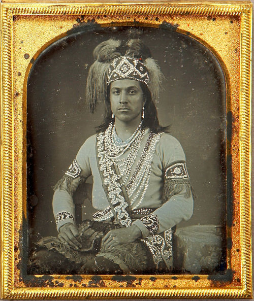 ca. 1852, [daguerreotype portrait of an Iroquois man, probably Seneca, with applied hand-gilt detail] via Heritage Auctions