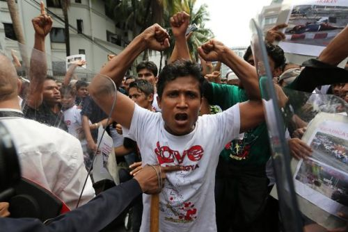 "Malaysians protest persecution of MuslimsAugust 4, 2012 Thousands of people in Malaysia have taken to the streets in protest at the ongoing violence against the minority Rohingya Muslims in Myanmar. The protestors gathered in front of the Myanmar Embassy to voice their outrage at the persecution and massacre of Muslims in the Southeast Asian country. They demanded a meeting with the officials of the Myanmar Embassy. Their request, however, was declined by the Myanmar's officials. The demonstrators also called for an immediate end to the violence against Rohingyas.  Reports say some 650 Rohingyas have been killed in the Rakhine state in the west of the country in recent months. This is while 1,200 others are missing and 80,000 more have been displaced. The UN says decades of discrimination have left the Rohingyas stateless, with Myanmar implementing restrictions on their movement and withholding land rights, education, and public services from them. The world body has also described the Muslim community as the Palestine of Asia and one of the most persecuted minorities in the world.  Earlier this week, the Human Rights Watch (HRW) condemned the Myanmar government for the killing of minority Rohingya Muslims during a recent wave of sectarian violence in the country. ""Burmese (Myanmarese) security forces committed killings, rape, and mass arrests against Rohingya Muslims after failing to protect both them and Arakan Buddhists during deadly sectarian violence in western Burma in June 2012,"" the rights organization said in a report on Wednesday. HRW also called on Myanmar to ""take urgent measures to end abuses by their forces, ensure humanitarian access, and permit independent international monitors to visit affected areas and investigate abuses."" The Buddhist-majority government of Myanmar refuses to recognize Rohingyas, who, it claims, are not natives, and classifies them as illegal migrants though the Rohingy as are said to be Muslim descendants of Persian, Turkish, Bengali, and Pathan origin, who migrated to Myanmar as early as the eighth century. Source"
