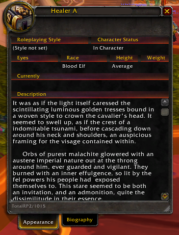 How NOT to write a description for your RP character, courtesy of Silvermoon City.
