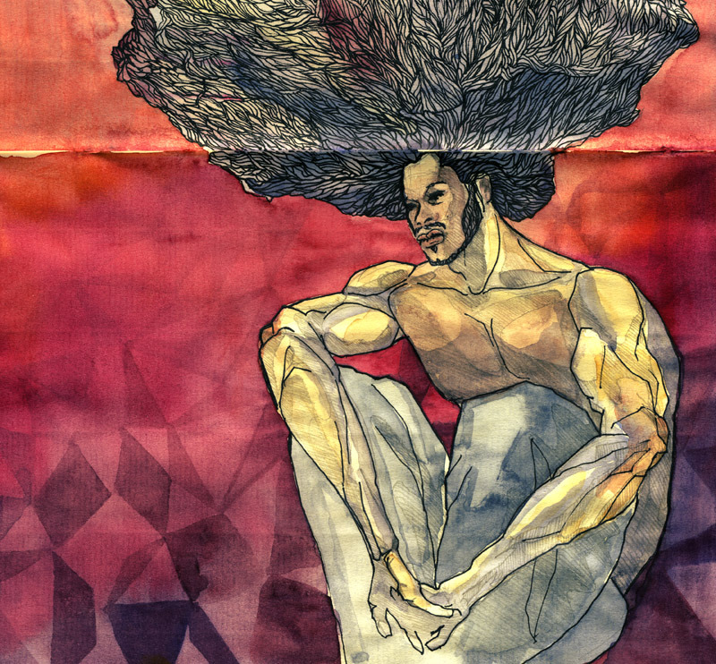 "based on Mikhail Vrubel's ""Deamon Seated"" http://pinacoladason.tumblr.com/"
