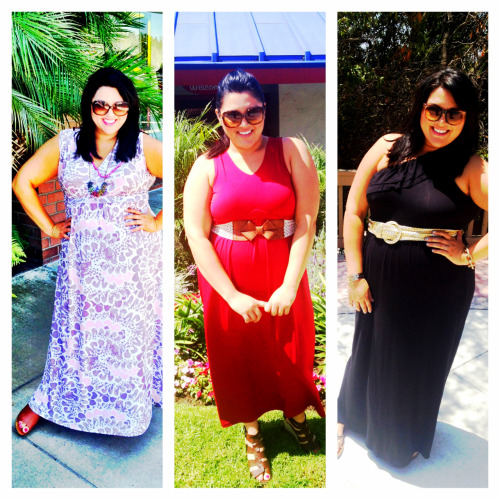 OOTD: Maxi-mize Your Summer!  I love maxis for summer, so easy to just throw on and go! Add some cute accessories for impact and hit the town with gusto. This trend is easy to rock, so tery mixing it up with different necklines. The silhouette is flattering so you can also experiment with bright colors and patterns. Pair with some wedges for an evening look or keep it cas(ual) and work some gladiators. Check out how I styled them below.    From left to right: Dress: SWAK Shoes: Target Necklace: 31 Bits  Dress: Ulla Popken Belt: Ruche Shoes: Dolce Vita  Dress: Ruche Belt: Mom's Shoes: Sam Edelman