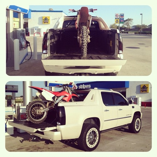 It fits too #honda #CR125 #cadillac #escalde #ext #dirstbike #truck (Taken with Instagram)