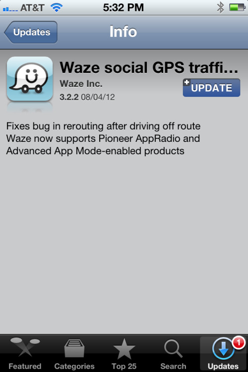 Waze 3.2.2 adds AppRadio support. Exciting news for AppRadio owners and those with new Pioneer head units with Advanced App Mode.