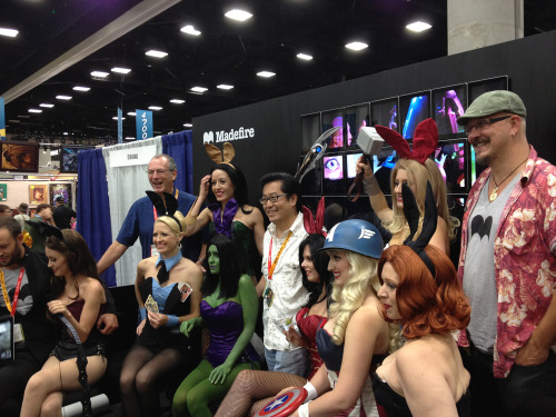 dr-atomics-nerd-factory:  Comicon 2012 Comics Creators in order from left to right: Ben Wolstenholme, Dave Gibbons, Frank Cho, and Liam Sharp pose with the Playboy Avengers at the Madefire booth.  File under: things I didn't expect to see while browsing the 'Dave Gibbons' tag.