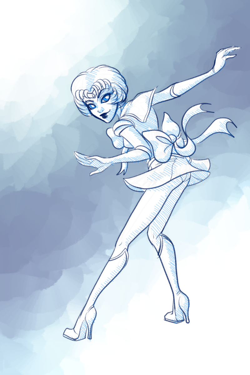A thank you sketch for a donation of Sailor Mercury.   I've never watched Sailor Moon, so I apologize if she's not accurate!