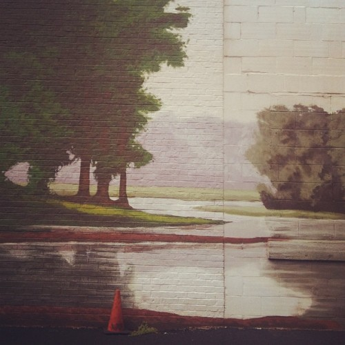Still life with traffic cone & landscape (Taken with Instagram)