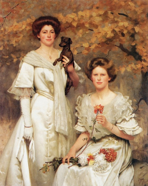pre-raphaelisme:  Hilda and Margaret, daughters of Professor sir Edward Poulton by Thomas Cooper Gotch