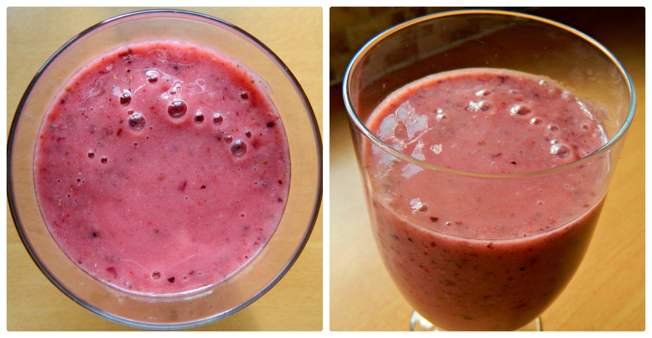 Breakfast smoothie - banana, red grapes, strawberries, chia seeds, almond milk and ice.