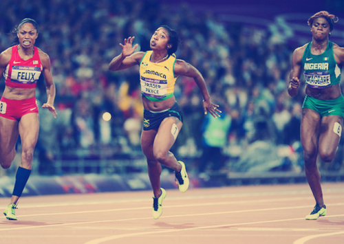 London 2012 Olympics - women's 100 meters final Nigeria's Blessing Okagbare who made it all the way to the women's 100m final finished last during this race. (image via afrocentrico)