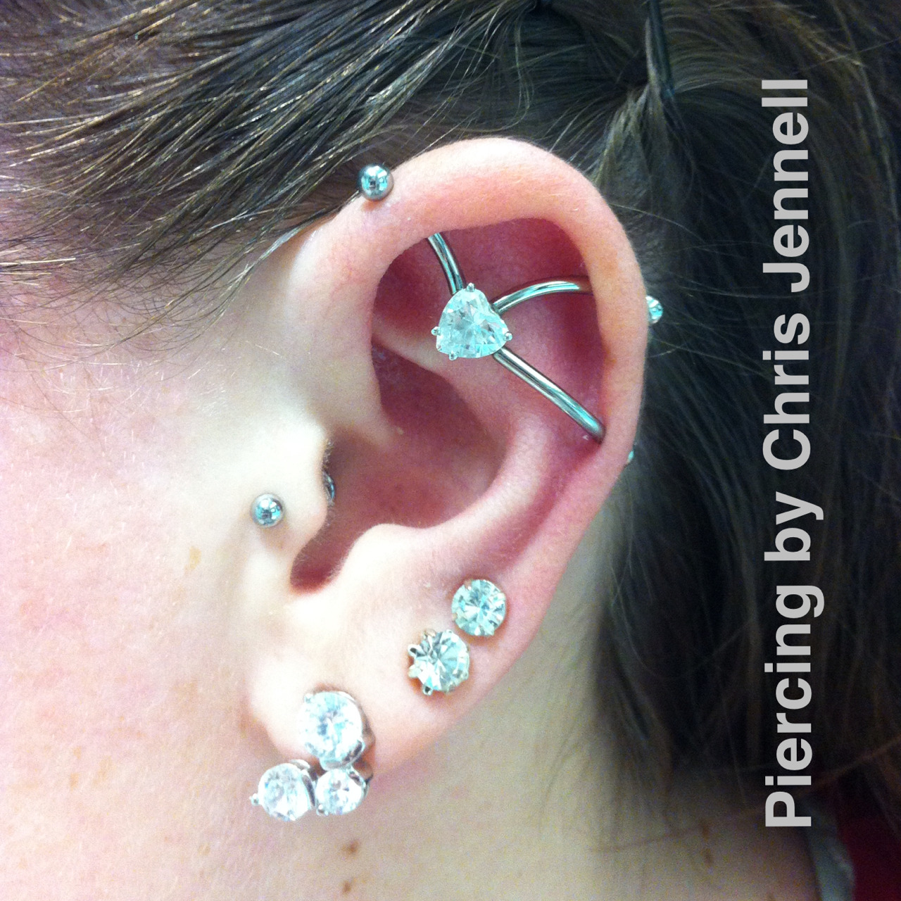Custom white gold triple threaded heart cz from Body Vision Los Angeles.