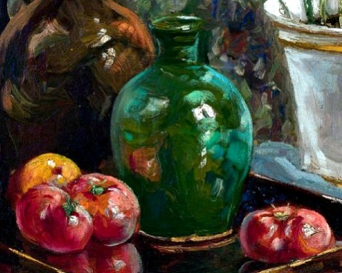 Henri Frederic Boot Still Life with Tomatoes and Tulips, detail 20th century