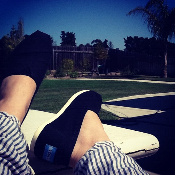 Enjoying the weather in my new #TOMS.  (Taken with Instagram)