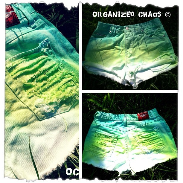 "New Items: Green With Envy, High Waist Ombré denim Shorts. Tag reads Size 9/10 Waist 29.5"" (other sizes available) For more details go to ShopOrganizedChaos.Etsy.com ☀💚😍 #SupportTheChaos (Taken with Instagram at ShopOrganizedChaos.Etsy.com)"