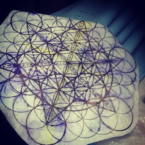 Today's stencil little metatron flower of life star tetrahedron action (Taken with Instagram)