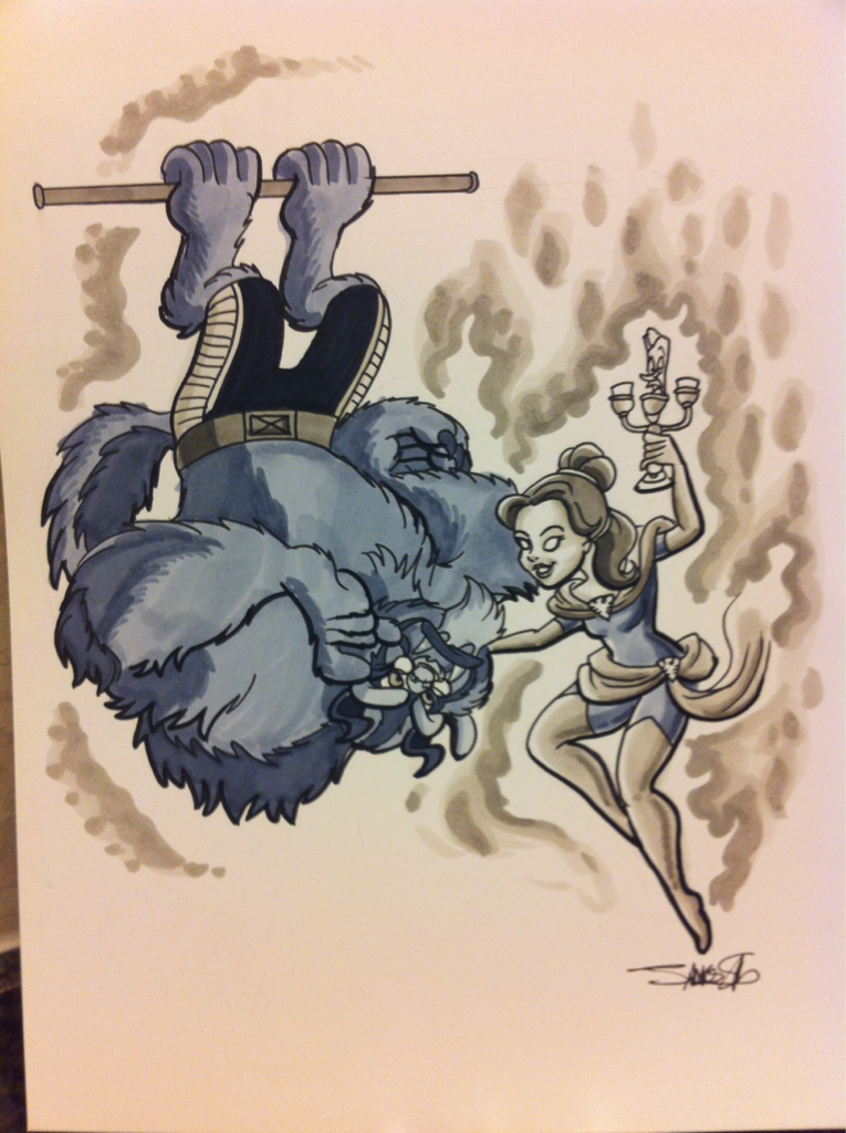 "Hank ""Beast"" McCoy and Jean ""Belle""Grey by @silvaniart  silvaniart:  SDCC- A beauty but a funny girl, that Phoenix."