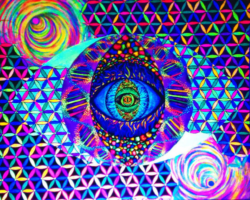 "fuckyeahpsychedelics:  ""Within Eyes - Glow Live Painting"" by ProjectConsciousness"