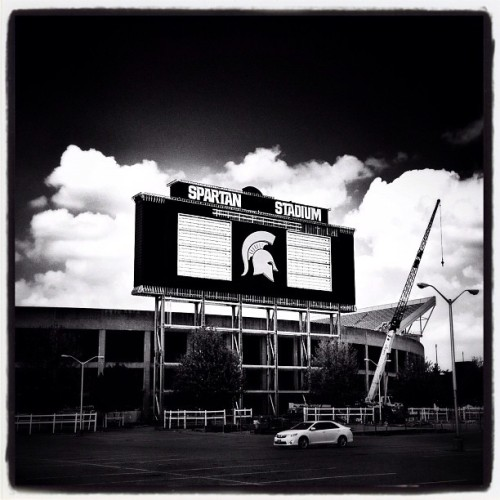 The new scoreboard is massive! #iphone #snapseed #noir #msu #spartanstadium #football #spartan  (Taken with Instagram at Spartan Stadium)