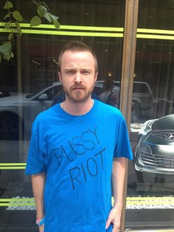 henryclaypeople:  Aaron Paul supporting Pussy Riot, click pic to help.