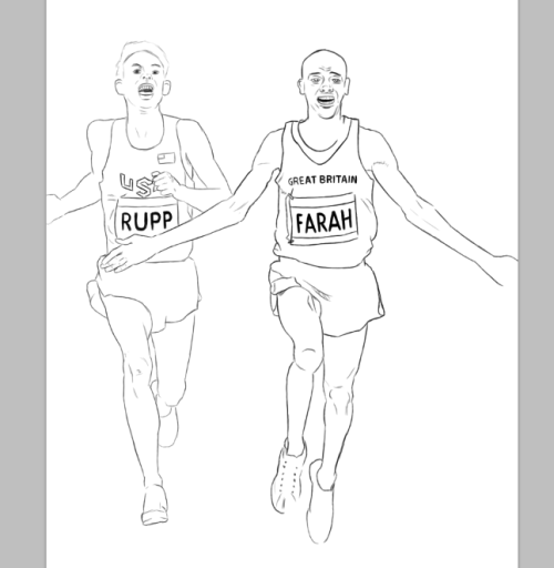 Really rough sketch of Mo Farah and Galen Rupp finishing the mens 10,000m in London. (WIP) ©nathan dallesasse