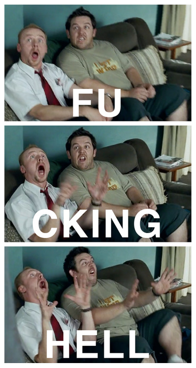 Just watching Shaun Of The Dead again and this reaction to seeing a zombie for the first time kills me. Simon Pegg's spirit fingers. Rated R.
