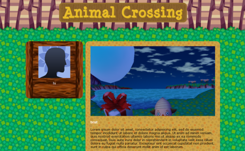 tomnooksbitch:  Hi guys, I'm making an Animal Crossing tumblr theme and if enough people are interested in using this I'll release it when it's done! It's specially made for Animal Crossing blogs and it's my way of thanking you for being part of this amazing fandom <3