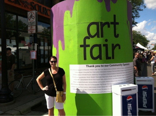I spent the afternoon wandering around the Uptown Art Fair with the hubby. For the first time in years it wasn't disgustingly hot. The temperature and breeze made it far more enjoyable.   Up tomorrow, the first annual Food Truck Fair in Minneapolis. I just know my nemesis the cupcake truck will be there. I may have to finally give in to her sirens song.   Sweet baby jeebus give me the strength to resist yum nummies on sticks. All things deep fried, and sweet, sweet sugar bombs.  This could be dangerous. Details to follow…