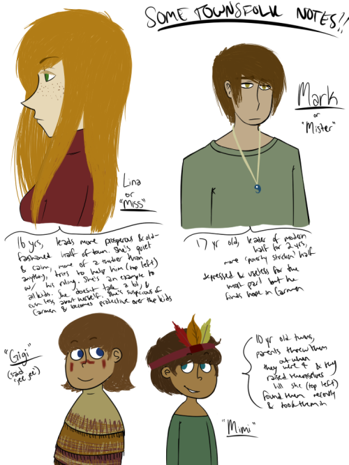more chars for MOTS their descriptions are by em. theyre just people who live in the town where light never touches. its essentially a place for rejects, and sandra keeps a close eye over it, but never actually lets her presence be known till Carmen's sent to bring light and happiness and warmth to the town. full