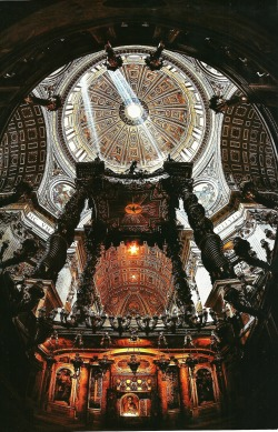 Inside of the Basilica of St. Peter at Vatican City National Geographic | December 1985