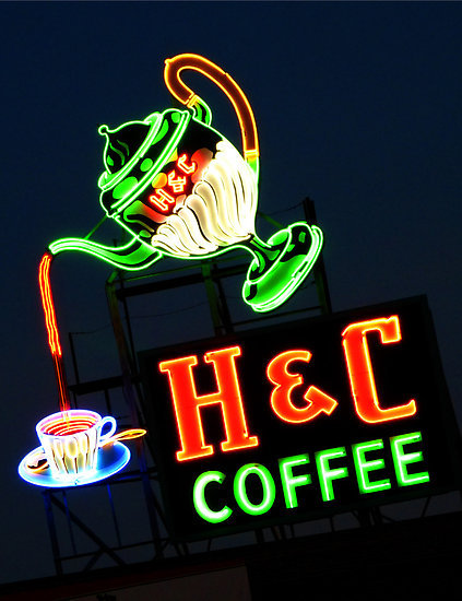 "thinkpics:  ""Neon H & C Coffee"" by ThinkPics 