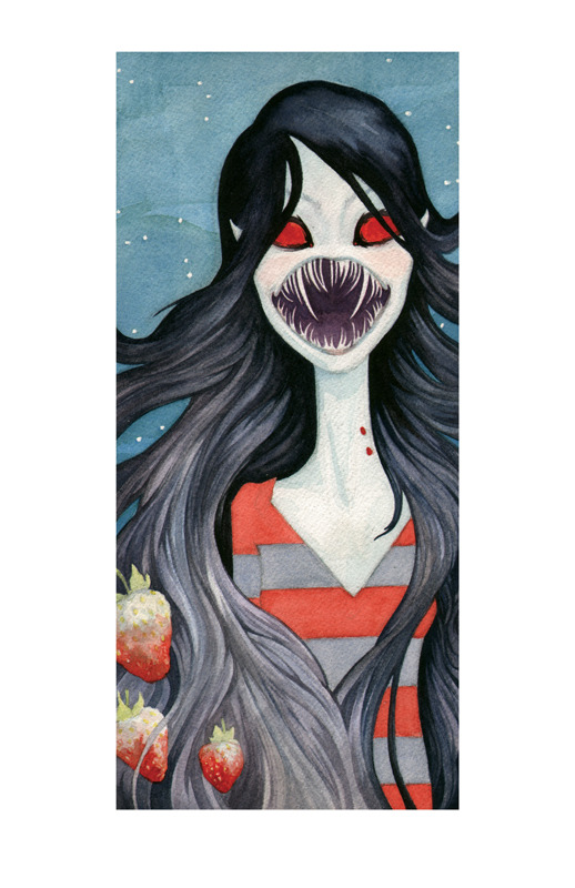 eatsleepdraw:  Shades of Red watercolor on paper Ol' Marceline the Vampire Queen just wants to say hello!  I painted her for the upcoming Adventure Time tribute show at OhNo!Doom Gallery, Chicago.  Opens August 11th!  I've got all sorts of in-progress shots and other nonsense over at my tumblr so click on by.  ~Melissa Sue Stanley