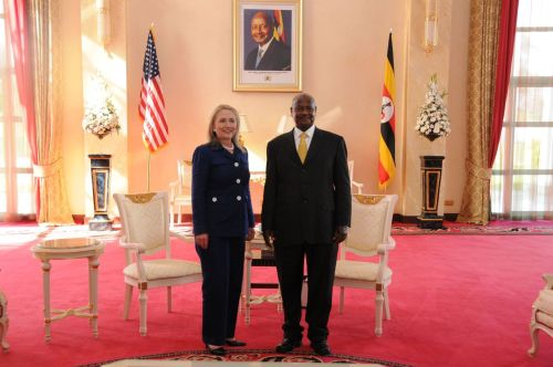 U.S. Secretary of State Hillary Rodham Clinton poses for a photo with Ugandan President Yoweri Museveni after a meeting in Kampala, Uganda on August 3, 2012. [State Department photo/ Public Domain]