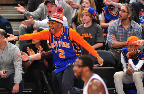 "NYT's asked Spike Lee if he would:   Forsake his beloved New York Knicks and root for the Brooklyn Nets? Spike Lee shoots a sideways glance suggesting the reporter is guilty of early morning drug use. ""I wish I had a dollar for every time people ask me that — I could finance another film,"" he says. ""No, no and no. Can't do that. Can't."" ""I am orange and blue, baby,"" he says in reference to the colors of the Knicks. ""Orange and blue."" ""Orange and blue. My son is going to be orange and blue, and his son after him. And they are going to bury me in these colors."" He pauses a beat. ""In Brooklyn.""   Image: Mr. Lee during a Philadelphia 76ers game against the New York Knicks at Madison Square Garden this year +Beats by Dre has customized a special line of headphones for the New York Knicks at the request of longtime fan Spike Lee"