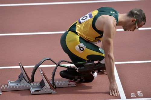 justdoyounyc:  Just Do You!: South Africa's Oscar Pistorius prepares to start in a men's 400-meter heat