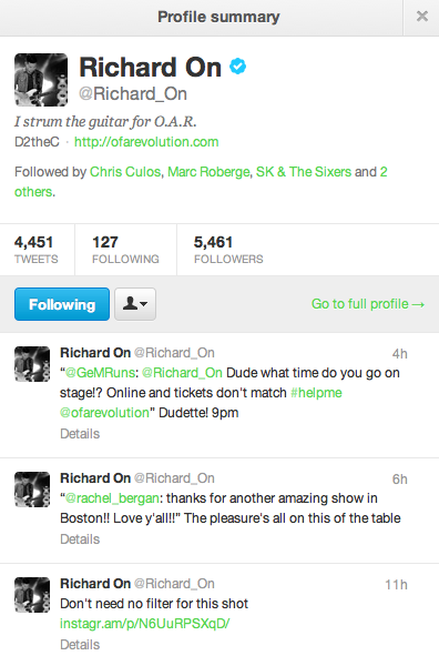 Check out that tweet from O.A.R.'s Richard On! To say I was excited when I saw that reply is an understatement. An amazing band who cares greatly for their fans - one of the many, many reasons that they are my favorite.