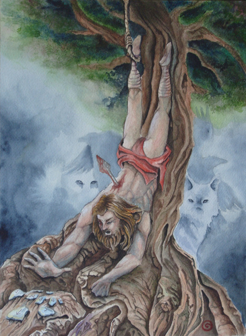 ghost-man-blues:  Odin, as the tale goes, hung upside down from Yggdrasil, the World Tree, for nine days and nights, seeking vision. When it did come, each moment was an unfolding surprise, as he glimpsed the wordless shape of thought itself.