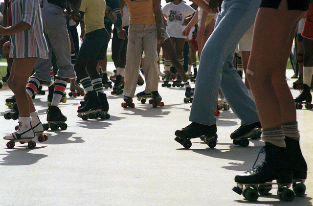 Rollerskaters on Venice Beach, 1979.