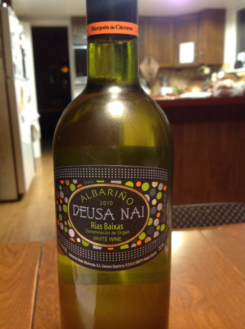 2010 Deusa Nai Albariño: Fresh citrus aromas with melon and vanilla. Dry and spicy on the palate. Intense flavors of lemon, grapefruit and key lime with a backdrop of baking spices. Happy National Albariño Day!