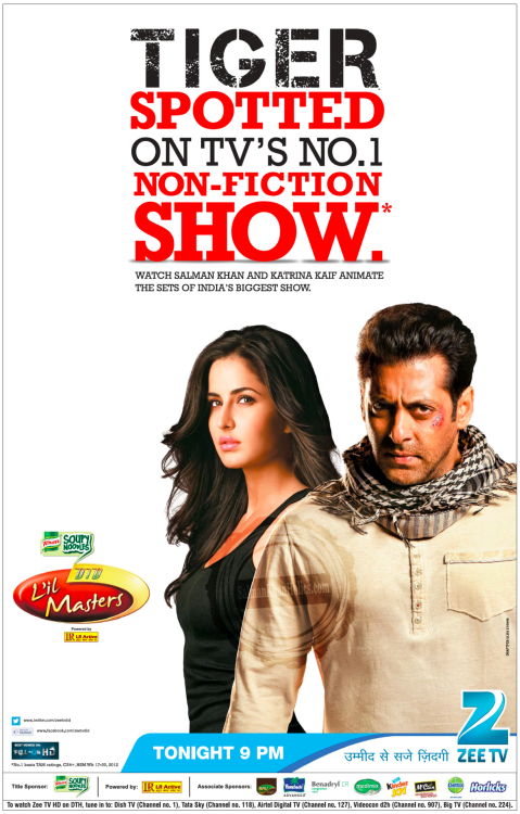 ★ TIGER spotted on TV's NO. 1 Non-Fiction Show; Watch Salman Khan and Katrina Kaif animate the sets of India's Biggest Show….