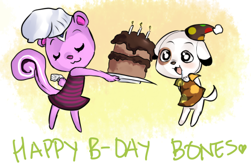 pearseverywhere:  Happy Birthday, Bones! I was trying to imitate this awesome artist's style, who has done some AC works, and I'm rather fond of them.  Thanks, yip yip!!