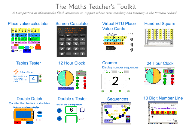 "The Math Teachers' Tool Kit #edtech #mathchat ""Demonstration tools to support whole class and group teaching in the daily maths lesson. Ideal for use on interactive whiteboards."" Very nice resource! You may also like… Math Ideas Be sure to follow! Classroom Math Games and Activities (non-tech) Printable Math Charts Awesome!"