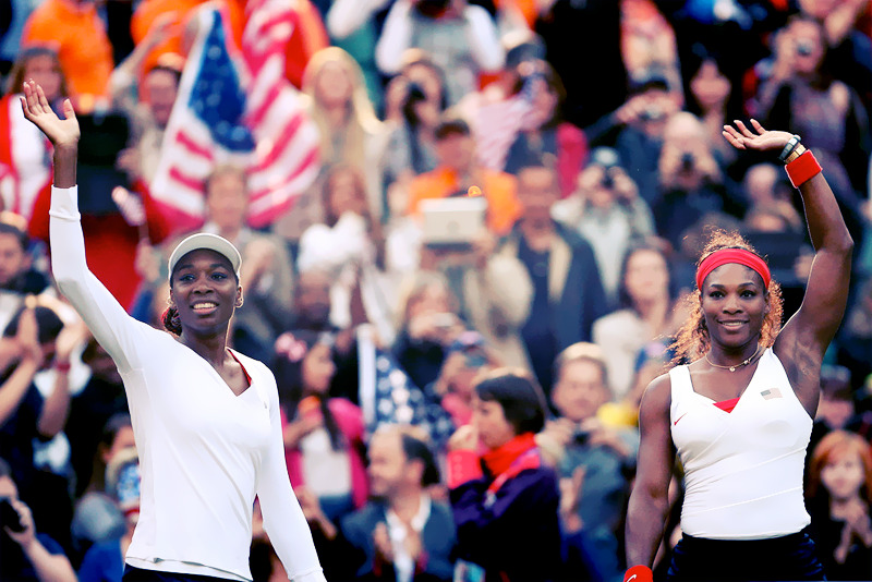 zuky:  olympicsusa:  OLYMPICS DAY 8 Venus Williams and Serena Williams wave to the crowd after defeating Maria Kirilenko and Nadia Petrova of Russia in their Women's Doubles Tennis Semifinal match Photo by Clive Brunskill  Best doubles team in the history of the sport.