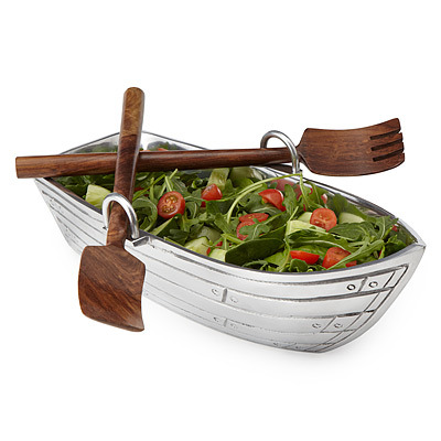 ROW BOAT SALAD BOWL WITH WOOD SERVING UTENSILS | UncommonGoods