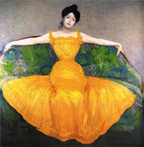 no-secret-sphinxes:  Lady in a Yellow Dress, Max Kurzweil, 1899  That is a boss lady.
