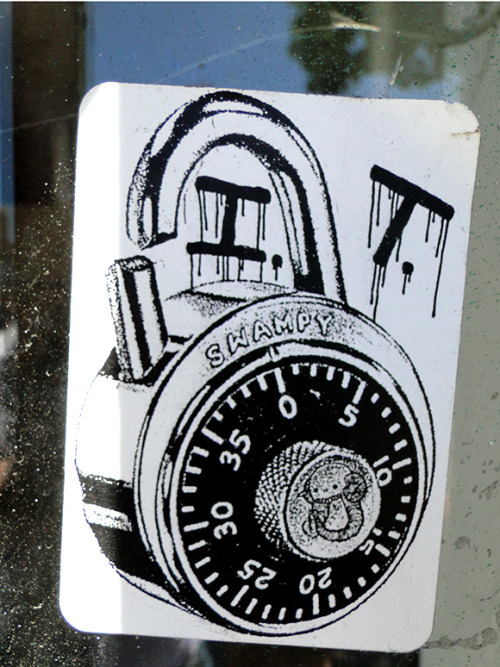 streetartsf:  The locker lock. Swampy. Telegraph Ave @26th Street in Oakland, CA.