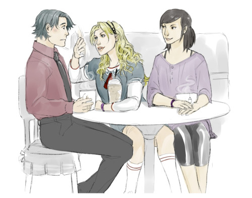 kaciart:  Pink wanted Tim, Steph and Cass hanging out. - i like to think Tim was daydreaming about Dick and utterly zoned out. Bet he could also have been staring at Steph's lips (they are also possibly holding hands behind the cup) - When I was drawing this I kind of imagined the barista asking Steph is she wanted her drink to be lowfat and she would just be like '….what? no seriously…low WHAT?' Tim slaps a hand over her mouth and steers her away as Cass follows up and says 'no she wont' and placing her order Before joining Tim and Steph at the condiment counter where Tim has a disgusted grimace on his face as he grabs a napkin to wipe lipgloss off his palm.