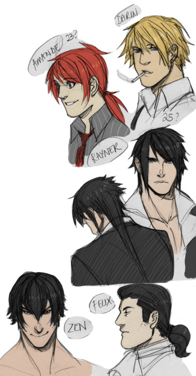 For Jash. You wanted some profiles of them but I'm still not sure how they'd really look like? Since I haven't drawn then for 2 years hahahaI'll see what I can do—oh yeah I don't remember how Sinclaire looks like 8\ lmao at least I added Felix. And yes Zen is always naked (Right click new tab for bigger image)