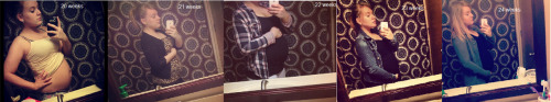 I haven't updated with belly shot's in a long time! Currently I'm 26 weeks. But these are the pictures from the last month or so. Baby is doing well and is moving A LOT :) I love watching him do baby gymnastics in my belly. I had to take out my belly button ring because it got badly infected :( other than that things are well!