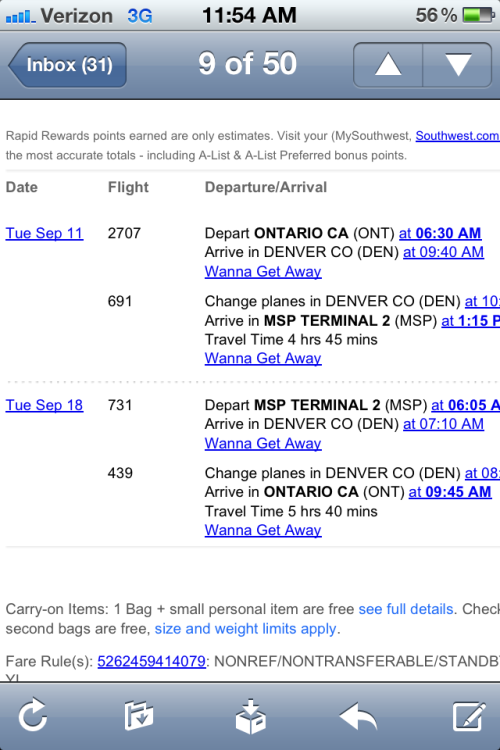 southwest air had a flash sale yesterday. round trip to Minneapolis = $161. I can't help it. home is home.